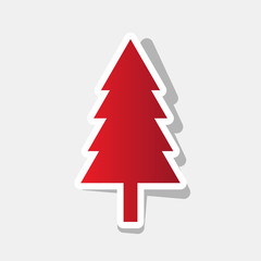 New year tree sign. Vector. New year reddish icon with outside stroke and gray shadow on light gray background.