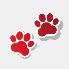 Animal Tracks sign. Vector. New year reddish icon with outside stroke and gray shadow on light gray background.