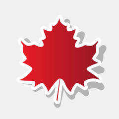 Maple leaf sign. Vector. New year reddish icon with outside stroke and gray shadow on light gray background.