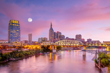Fotomurales - Nashville, Tennessee downtown skyline at twilight