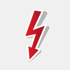 High voltage danger sign. Vector. New year reddish icon with outside stroke and gray shadow on light gray background.