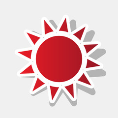 Sun sign illustration. Vector. New year reddish icon with outside stroke and gray shadow on light gray background.