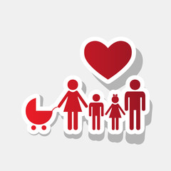 Family sign with heart. Husband and wife are kept children's hands. Vector. New year reddish icon with outside stroke and gray shadow on light gray background.