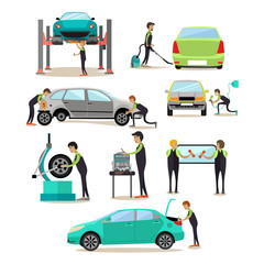 Vector set of car service, auto repair shop workers icons
