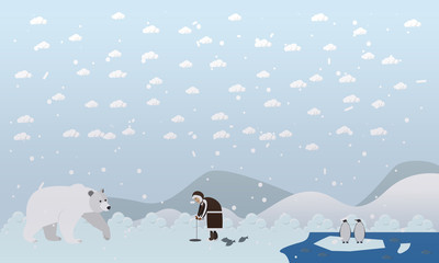 Vector illustration of eskimo and polar bear in flat style