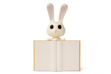 Cartoon white rabbit with books,3D illustration.