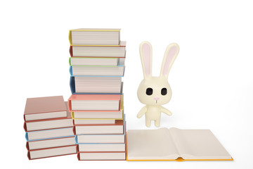Cartoon white rabbit with books,3D illustration.