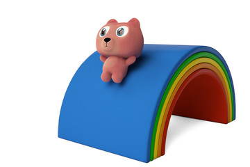 A cute bear down on rainbow slide 3D rendering