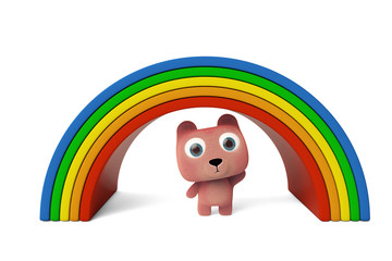 Lovely bear and rainbow 3D rendering