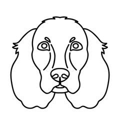 Vector line art spaniel dog face portrait zoo icon domestic animal friend