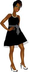 BlackWomanBlackWhiteDress