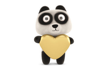 A cute little panda hugging a heart-shaped,3D rendering.