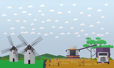 Wheat harvesting concept vector illustration in flat style