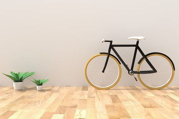 bike with houseplant in the empty room in 3D rendering