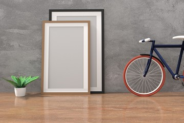 bike with mock up photo frame in the concrete and wooden floor room