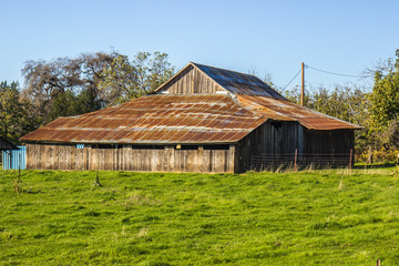 Old Leaning Wood Barn With Rusted Tin Roof