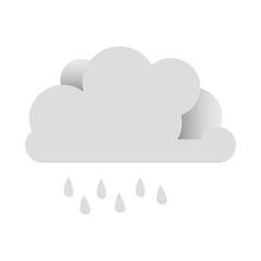 white sticker cloud with rain icon, vector illustraction design