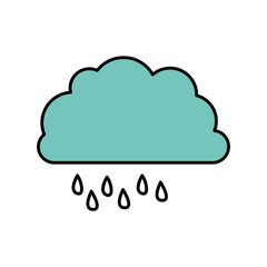 color cloud rainning icon, vector illustraction design image