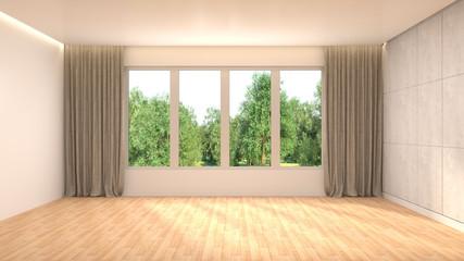 interior with large window. 3d illustration