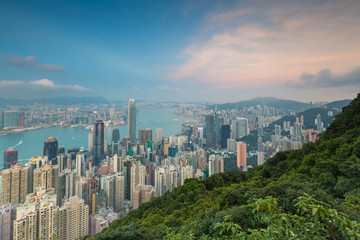 Hong Kong city downtown with mountain front view from The Peak