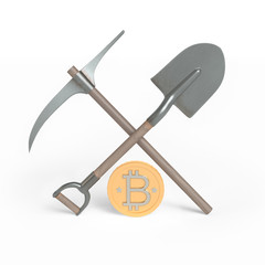 Bitcoin and mining tools. 3d render.