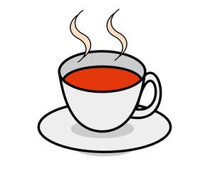 カップ(紅茶、湯気)
