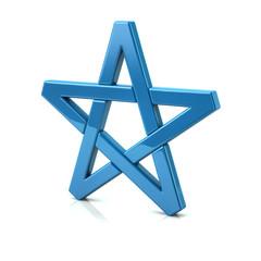 3d illustration of blue pentagram