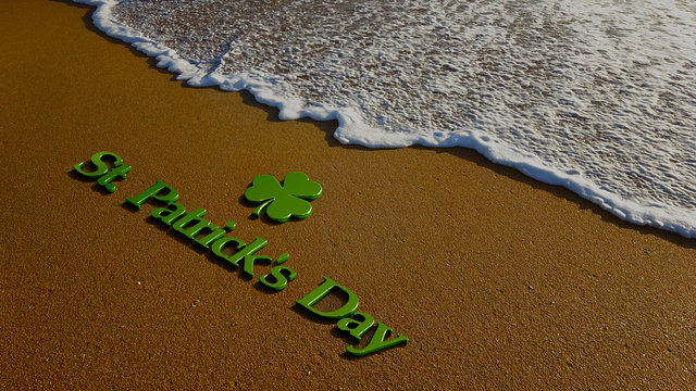 St. Patrick's Day at the Beach. 3D Render Illustration