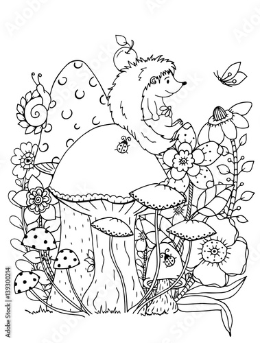 Vector Illustration Zentangl Doodle Hedgehog Coloring Page Anti