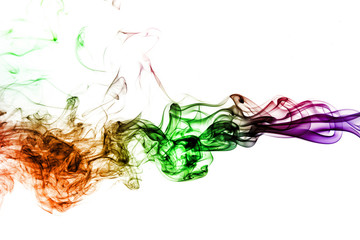 Wall Mural - colored smoke isolated on white background