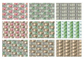 Set of 9 rectangle  money pattern for design