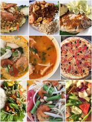 Collage of various dishes, different cuisine food product.
