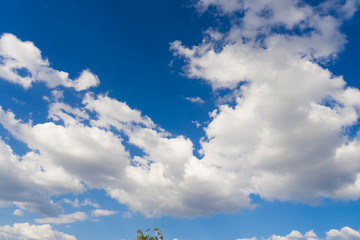 Sunny sky with clouds in the background.