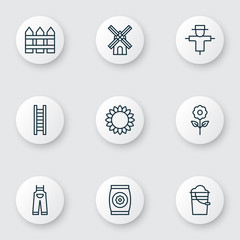 Set Of 9 Farm Icons. Includes Garden Clothes, Stairway, Bucket And Other Symbols. Beautiful Design Elements.
