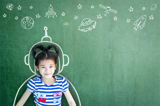 Kid's imagination with learning inspiration in science technology engineering maths STEM education concept