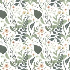 Forest botanical seamless pattern. Vector illustration