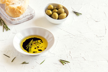 olive oil with rosemary, balsamic