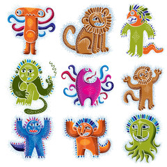 Comic characters, set of vector funny alien monsters. Drawing of happy lion holding its paws up, illustration of cute wild animal, cool mascot can be used in graphic design.