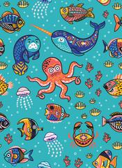 Aquatic animals seamless pattern. Vector illustration