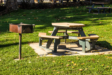 Picnic Tables & BBQ Stand in Park