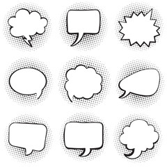 Big set of blank template comic text speech chat bubble halftone dot background style pop art