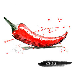 Fond de hotte en verre imprimé Bestsellers Watercolor food illustration. Red hot chili pepper.