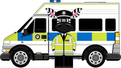 Cute Cartoon Zebra Policeman and Police Van