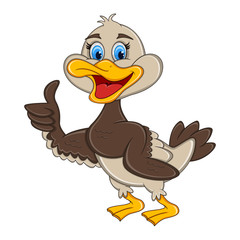Duck giving thumbs up cartoon