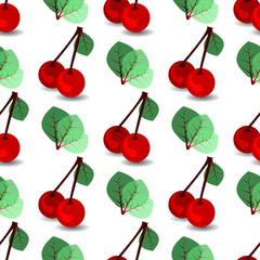 seamless pattern. ripe cherries and leaves