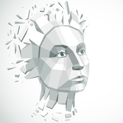 Face of a thinking woman created in low poly style, 3d vector grayscale human head, brain exploding which symbolizes intelligence and imagination.