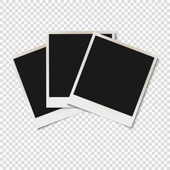 Blank old photo frames isolated on transparent background
