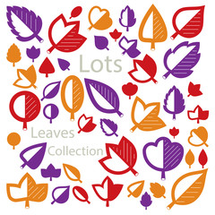 Hand-drawn illustration of simple tree leaves isolated. Autumn seasonal foliage, herbs collection. Vector botanical symbols can be used as design elements in ecology conservation theme.