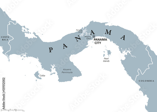 Panama political map with capital Panama City, national borders ...