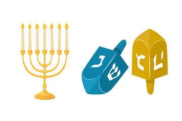 Golden jew menorah with candles hebrew religion tradition decoration flame and candelabrum hanukkah orthodox judaism holiday vector illustration.